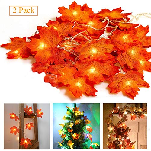 Fall Garland Decor,2 Packed Total 13.2 Ft 40 LED Autumn Harvest String Lights Thanksgiving Decorations Clearance Party Outdoor Artificial Maple Leaf - Red by Doublewhale