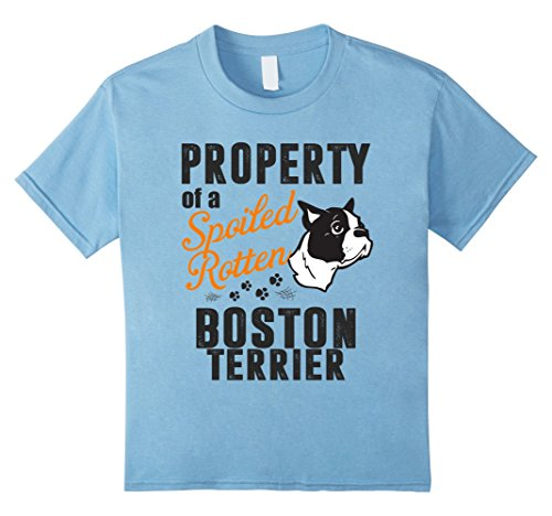 Kids Property Of A Spoiled Rotten Boston Terrier T Shirt 12 Baby Blue