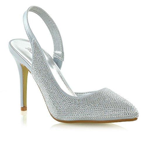 idal Heels Ladies Satin Slingback Diamante Pointed Toe Shoes (7 B(M) US, Silver Satin) ()