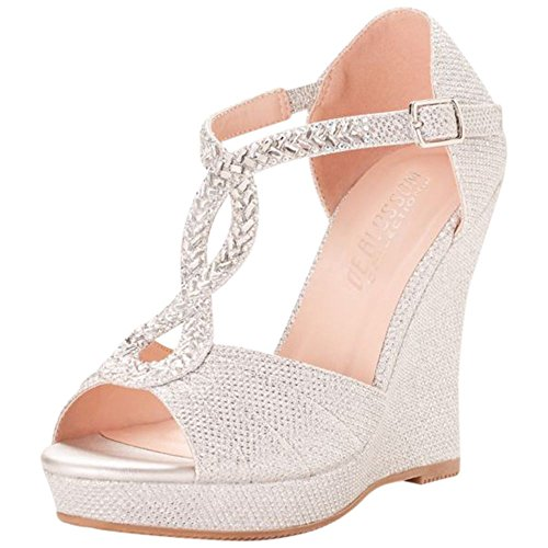 Crystal Embellished T Strap Glitter Wedges Style Alina 56  Silver  6