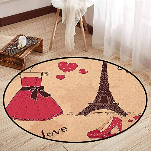 Non-Slip Round Rugs,Heels and Dresses,Paris Boutique French Retro Dress Shoes Eiffel Tower,Door Floor Mat for Bedroom,3'11