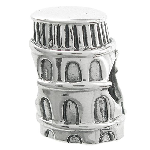 925 Sterling Silver Italy Leaning Tower Of Pisa Travel Tourist Attraction Bead For European Charm Bracelet