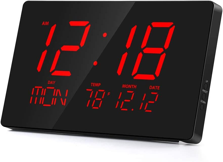 "Rcm 14"" Oversized LED Digital Wall Clock with Indoor Temperature, Month & Date, Week of Day, Fold-Out Stand can be Place on Any Surface Desk Top (Red)"