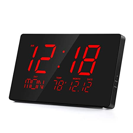 Rcm 14 Oversized LED Digital Wall Clock with Indoor Temperature, Month Date, Week of Day, Fold-Out Stand can be Place on Any Surface Desk Top Red