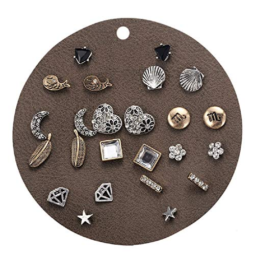 Zen Styles Vintage Small Stud Earrings Set, Set of 12, Silver Tone, Punk, Stars, Bars, Moons, Whale, Ear Studs, Hypoallergenic (E0752) by Zen Styles