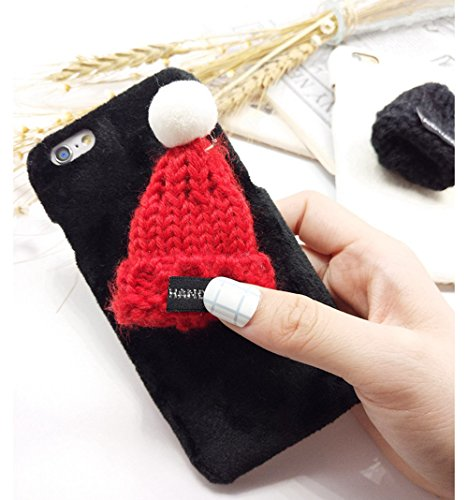 iphone 6 Funda para Apple 6 4.7 Carcasa - Sunroyal® PC Plástico Dura Interior , Xmas Felpa Plush Sombrero Hat Flexible Ultra Slim Fit Cáscara Alta Calidad Sleeve Rígida Caso Parachoques Bumper Navida A-07