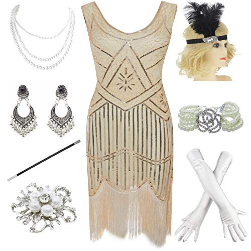 1920s Gatsby Fringed Paisley Plus Size Flapper Dress with 20s Accessories Set (XXL, Beige) -