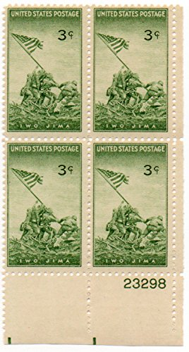 BATTLE OF IWO JIMA #929 Plate Block of 4 x 3 cents US Postage (4 Stamp Plate)