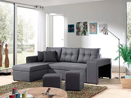 Bestmobilier – California – Canapé d'angle réversible et Convertible avec Coffre de Rangement – 246x85x145cm – Gris