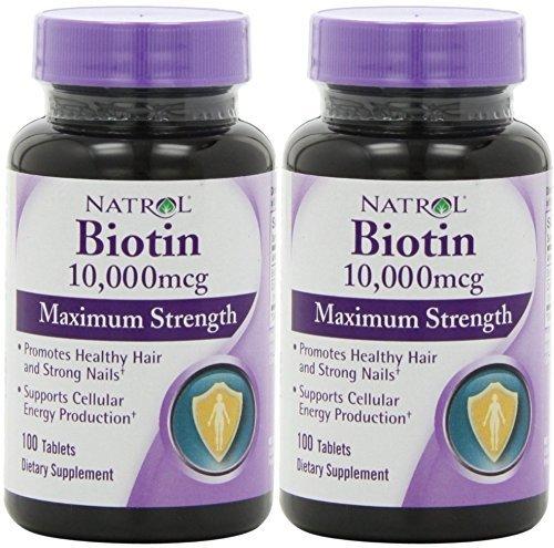 Биотин (10,000mcg) Максимальная сила (2 х 100ct Макс Сила 200 Tablet.)