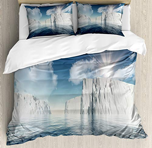 Ambesonne Ice Berg Duvet Cover Set King Size, Illustration of Fluffy Clouds and Icebergs on Water with Sunbeams, Decorative 3 Piece Bedding Set with 2 Pillow Shams, Dark Sky Blue Multicolor