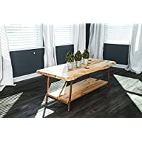 Niangua Furniture Live Edge Hickory Rustic Coffee Table with Copper Pipe Legs - 48 x 23