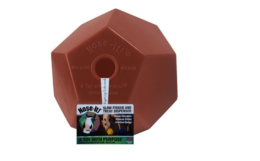 Nose-It! Equine Ball Flat Fill Treat Dispenser & Slow Feeder A Toy with Purpose, 8'' L x 8'' H x 8'' W, Red