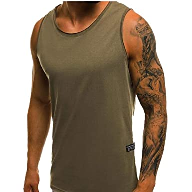b162cb8045141 Men s Sleeveless Workout Hooded Tank Tops Gym Workout Muscle Hoody Pullover  Vest T Shirt (E