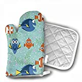 QWDGK Springs Creative All Smiles Oven Gloves Non-Slip Kitchen Oven Mitts Heat Resistant Cooking Gloves Cooking, Baking, Barbecue Potholder,