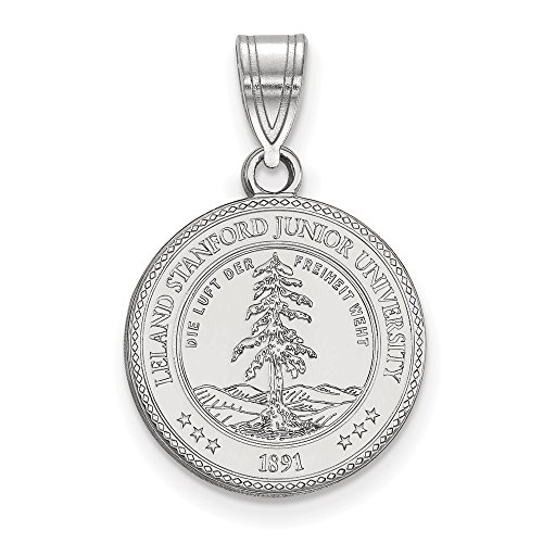 (Solid 925 Sterling Silver Stanford University Medium Crest Pendant)
