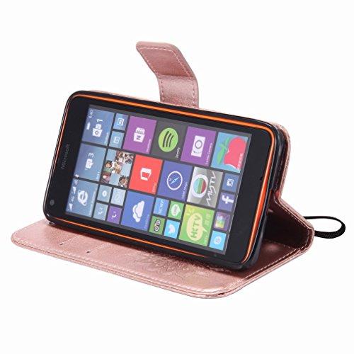 Yiizy Microsoft Lumia 640 LTE Custodia Cover, Sole Petali Design Sottile Flip Portafoglio PU Pelle Cuoio Copertura Shell Case Slot Schede Cavalletto Stile Libro Bumper Protettivo Borsa (delloro della
