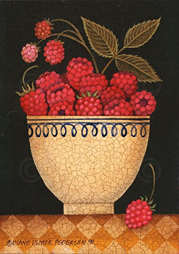 Cup O Raspberries by Diane Ulmer Pedersen Fruit Still Life Kitchen Print Poster 12x16