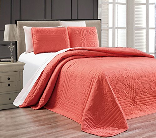 "3-Piece CORAL Oversize ""Stella Grande"" Bedspread QUEEN / FULL Embossed Coverlet set 106 by 100-Inch"