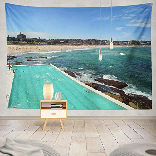 KJONG Beach Pool Beach Sydney Pool Summer Australia Hot Color Surfing Landscape Blue Bright Clean Coast Colour Decorative Tapestry,50X60 Inches Wall Hanging Tapestry for Bedroom Living Room