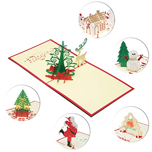 6 Pack 3D Christmas Cards Greeting Handmade Holiday Xmas Cards & Envelopes for New Year (Art Photo Postcard)