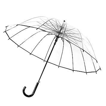 Umbrella Paraguas 16 Huesos Transparente Gancho antiviento Burbujas Mango Largo Grande japonés Retro Hembra
