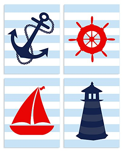 The Kids Room By Stupell Blue Striped Nautical Themed 4-Pc Rectangle Wall Plaque Set, Proudly Made in USA