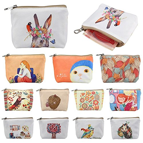 Small Women Canvas Wallet Zipper Purse Cartoon Flower Ladies Coin Butterfly Handbag Iron Wallet Purses xwPqB5Aan