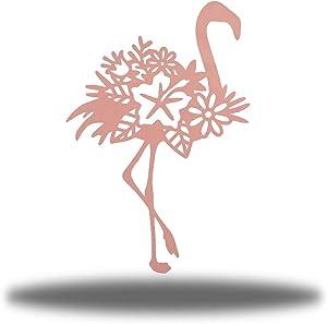 Riverside Designs The Floral Flamingo Metal Hanging Wall Art Sculpture Sign Outdoor Decor (24