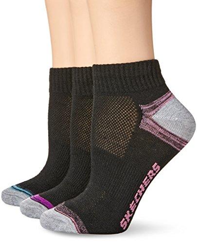 Skechers Women's Non Terry Quarter Crew Sock 6 Pack, Black Combo, 9-11 Logo Sport Quarter Sock