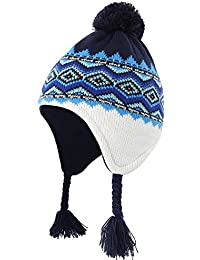 Toddler Infant Baby Fleece Lined Knit Kids Hat With Earflap Winter Hat
