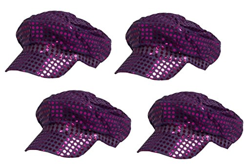 4 Pack - Purple Sparkly Sequin Newsboy Cap Diva Hat Disco Rave Girls (Cheap Disco Diva Costume)