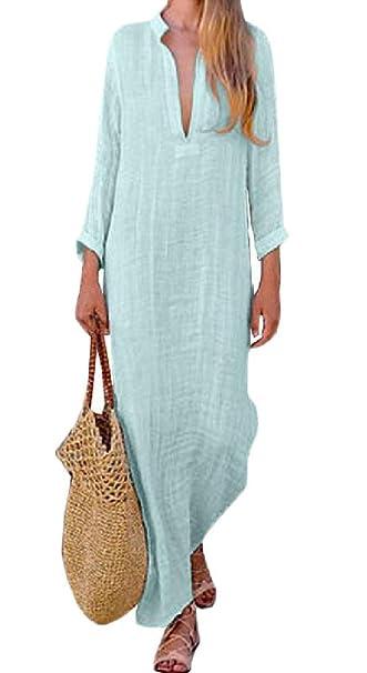 b3f86f2bb6a Macondoo Women Summer Long Sleeve V Neck Side Slit Cotton Linen Casual Dress  at Amazon Women s Clothing store