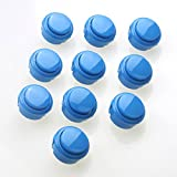 Easyget 10 X 30mm Arcade Push Button Replace for Sanwa Obsf-30 Obsc-30 Obsn-30 - Durable Push Button for Mame / Jamma / Arcade Game Machines Repair / USB Joystick Cabinet DIY - Color Blue