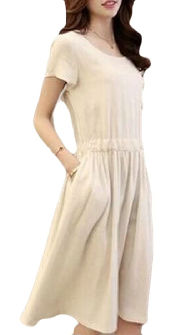 7919aa6f7 FLCH+YIGE Women Linen Cotton Short Sleeve Dress with Drawstring Slit ...