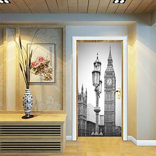 LWCX London Clock Creative Door Sticker For Bedroom Sticker 38.5200Cm2 Film by LWCX
