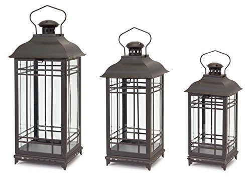 Black Rust Metal and Glass Decorative Lanterns (set of 3)