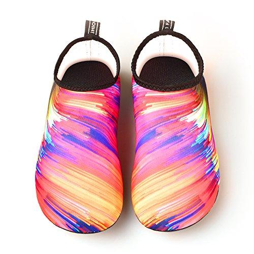 JNDDFAC Men Women Water Shoes Quick Dry Aqua Socks Barefoot Skin Beach Shoes for Swim Yoga Surf-Colorful (S(Women:7-8/Men:6-6.5), Colorful) by JNDDFAC (Image #1)