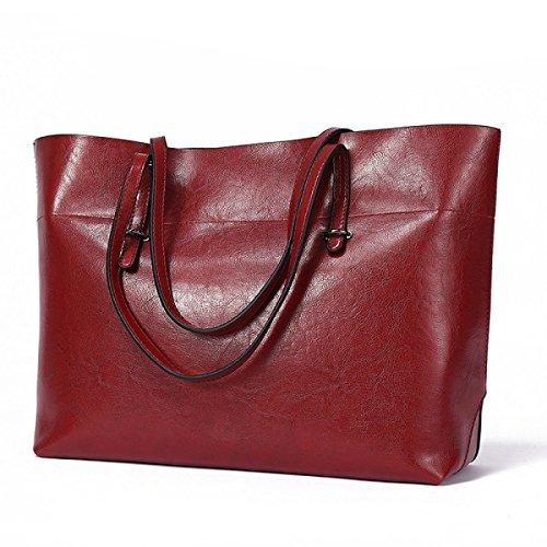 In Occasionali Tote Elaborazione Borse Pelle Di Olio Rosso Bag Shopping Spalla Cera Gestiscono Superiore Ladies Single Delle Donne Unità wxCqtfzaf
