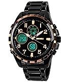 Gosasa Men's Military Sport LED Digital Multifunctional Waterproof Black Steel Quartz Watch (Black)