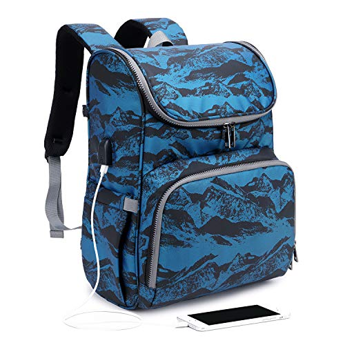 FC168-Blue Myston Diaper Bag Backpack Waterproof Multifunctional Mother and Baby Bag Baby Backpack Portable Simple Crib Foldable Travel Backpack