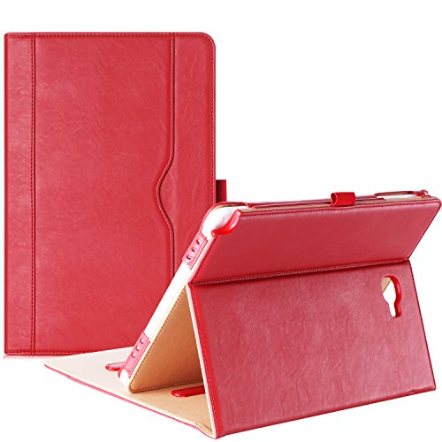ProCase Galaxy Tab A 10.1 with S Pen Case 2016 - Stand Folio Case Cover for Galaxy Tab A 10.1 Inch Tablet with S Pen SM-P580, with Multiple Viewing Angles, Document Card Pocket - Red