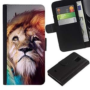 Protector de cuero de la PU de la cubierta del estilo de la carpeta del tirón BY RAYDREAMMM - Samsung Galaxy S5 Mini, SM-G800 - Soñador Arte León