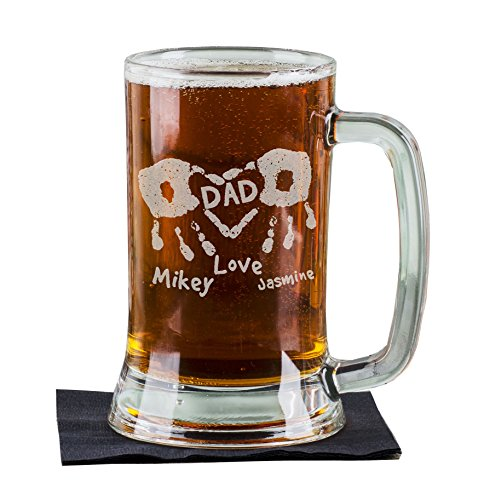 - 16 Oz Hand Prints Love Dad Etched Glass Beer Mug Stein Father Day Engraved with Kids Names Etched Daddy Father New Dad