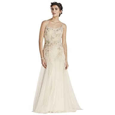 c4174aeeeca9 Melissa Sweet Net Wedding Dress with Straps Style MS251111 at Amazon ...