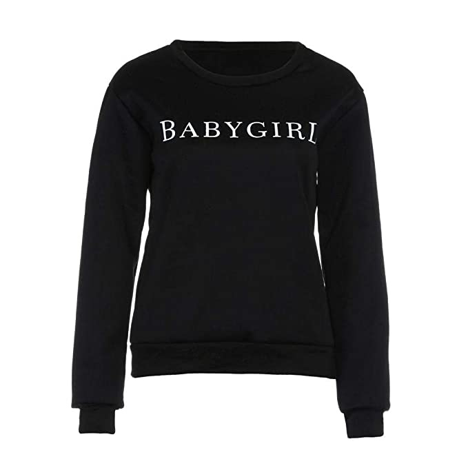 Mujer Sweatshirts Elegante Moda Informales Cómodo Pullover Otoño Invierno Manga Larga Basic Carta Impresión Cuello Redondo Sudaderas Sport Shirt Ropa: ...