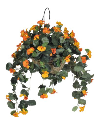 House of Silk Flowers Artificial Nasturtium Hanging Basket, (Nasturtium Hanging Basket)