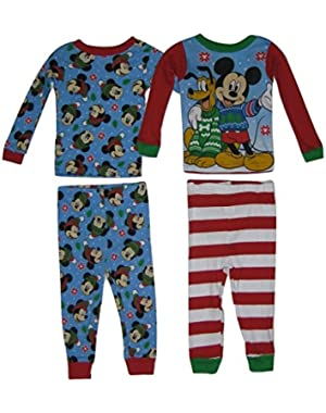 Disney Mickey Mouse & Pluto Toddler Boy 4-Piece Pajama Set, 2T