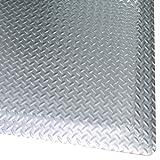 Rhino Mats DTB2436DS Diamond Plate Brite Anti-Fatigue Mat, 2' Width x 3' Length x 1'' Thickness, Shiny Metallic