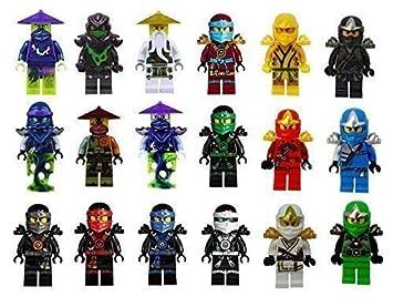 Sbolang Ninja Minifigures Set of 18,Ninjago Minifigures Kai Jay Sensei Wu Master Ghost Building Blocks Toys